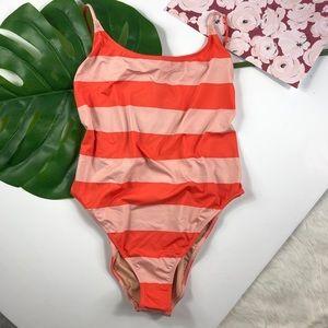 Jcrew playa printed striped swimsuit scoop back M